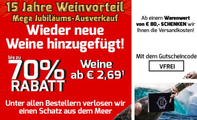 Weinvorteil   Mega Jubiläums Ausverkauf: 60 Weine ab 2,69€ + VSK frei ab 80€