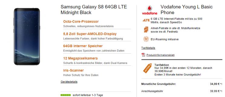 Samsung Galaxy S8 für 1€ + Vodafone Young L Tarif mit 6GB LTE für 34,78€ mtl.