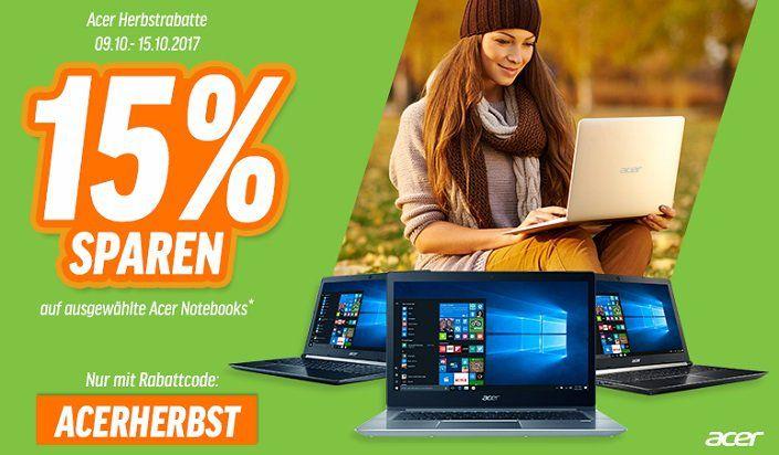 15% Rabatt auf Acer Notebooks   z.B. Swift 3 für 585,65€ statt 630€