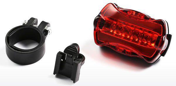 Abnehmbares Fahrradrücklicht mit 5 LEDs für 1,09€