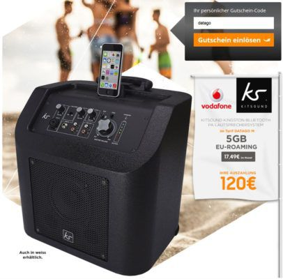 Vodafone Data Go M 5GB Flat bis 500 Mbit/s inkl. EU roaming + KitSound Kingston Bluetooth Lautsprecher ab 12,49€ mtl.
