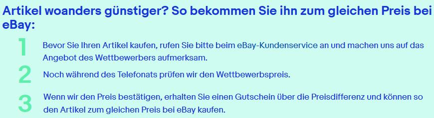 eBay: Tiefpreisgarantie für WOW Angebote