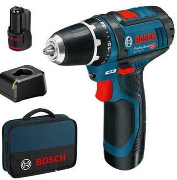 Bosch GSR 12 V 15 Akkuschrauber mit 2x 2Ah Akku + Tasche + Ladegerät für 104,95€ (statt 116€)