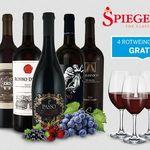 Wieder da! Ebrosia: Italien Genusspaket mit 6 Flaschen Rotwein + 4  Spiegelau Rotwein Gläser für 44,94€