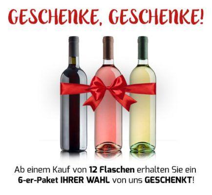 Weinvorteil: 6 Flaschen Wein ab 25,89€ + 6 Flaschen gratis