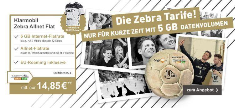 Klarmobil Zebra Allnet Flat 5GB mit THW Trikot für 15,68€ mtl.