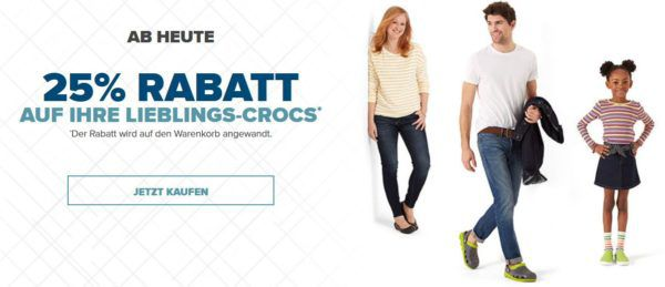 Crocs mit 25% Rabatt auf Sommer Favoriten