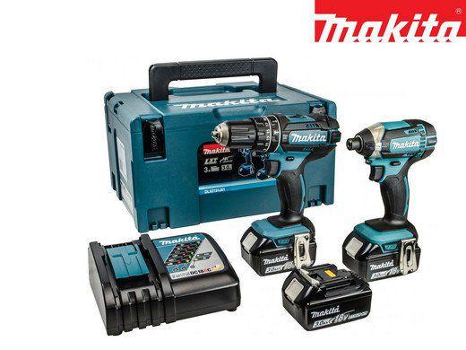 Makita Combo Set DLX2131JX1   Bohr  und Schlagschrauber + 3 Akkus in Koffer für 308,90€ (statt 360€)