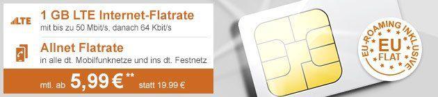 o2 Comfort Allnet Flat mit 1GB LTE (EU Roaming) für nur 6,49€/Monat