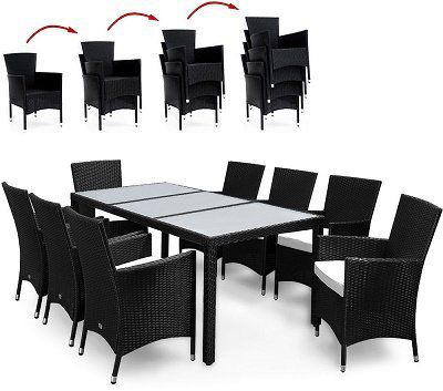 17 teilige Deuba Polyrattan Sitzgruppe in Schwarz ab 331,46€ (statt 449€)