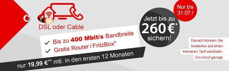 Vodafone DSL 16 bis 100 Mbit/s + Festnetzflate + Fritz! Wlan Router ab 14,57€ mtl.   dank Cashback