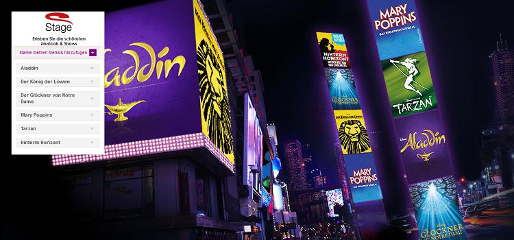 Stage Musical Tickets stark reduziert ab 54,90€   Der König der Löwen, Aladdin, Hinter dem Horizont, Tarzan, uw.