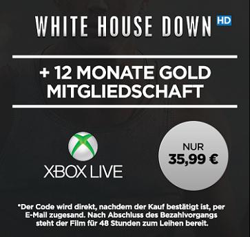 12 Monate Xbox Live Gold + White House Down HD Stream für 35,99€