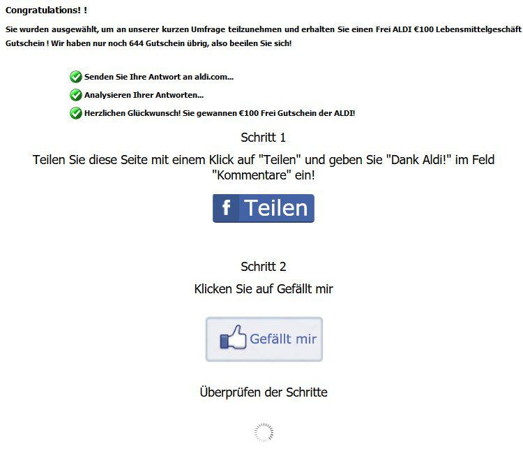 News: Der ALDI Gutschein ist ein Fake