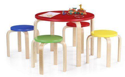 iKayaa Massivholz Rundkindertisch inkl. 4 Stühle für ~38,64€