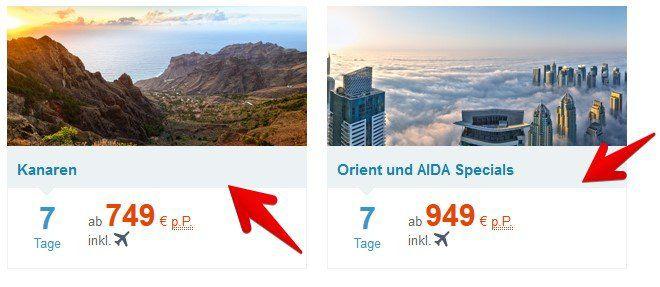 AIDA: First Minute Angebote wie z.B. ab 749€ p.P.   z.B. 7 Tage Kanaren inkl. Flug