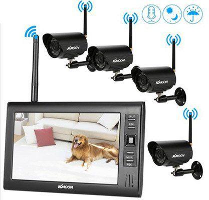 KKmoon 4CH WLAN Kamerasystem mit 4 Kameras inkl. 7 TFT & Zubehör für ~145€ (statt 200€)