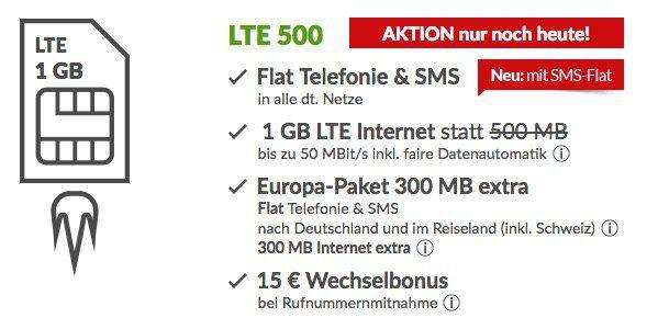 o2 Allnet + SMS Flat mit 1GB LTE und Europa Paket (inkl. Schweiz mit 300MB) für 6,49€ mtl.   monatlich kündbar!