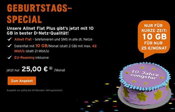 Congstar Allnet Flat im Telekom Netz mit 10GB Volumen für 25€ mtl.