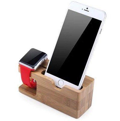 iPhone Dockingstation aus Bambus mit Apple Watch Halter für 6€