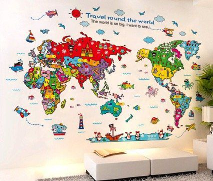 Cartoon Wandsticker Reise um die Welt für 3,82€ (statt 7€)