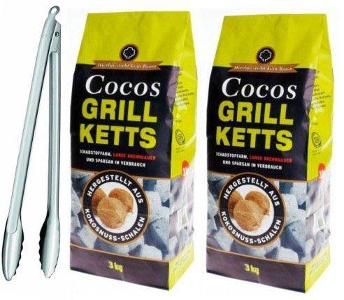 6kg Cocos Grill Ketts + Rösle Gourmetzange für 19,99€