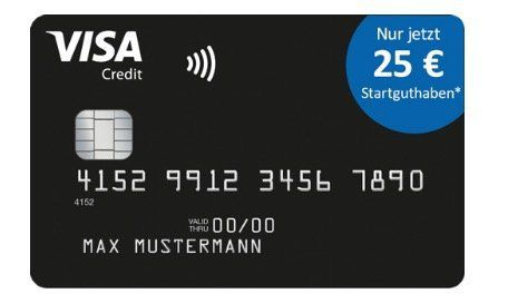 Tipp! Schwarze Visa Kreditkarte komplett beitragsfrei (ein Leben lang) und mit 25€ Startguthaben