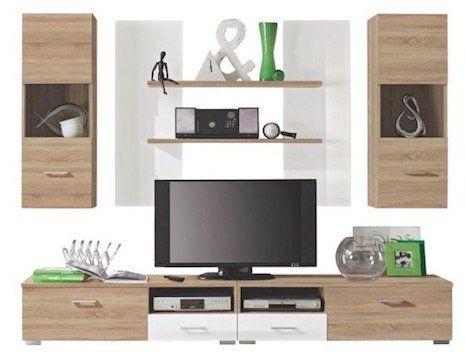 Carryhome Wohnwand mit 2 Hängeschränken, 2 Wandboards und einem TV Element für 128,99€