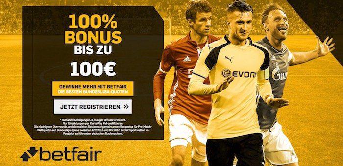 100% Einzahlbonus bis max. 100€ bei betfair Sportwetten