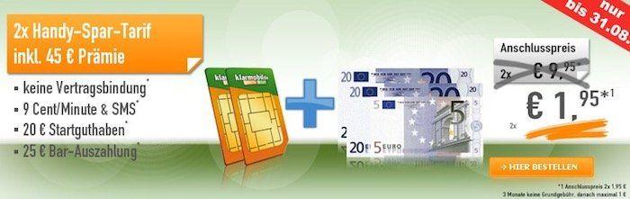 klarmobil Spar Tarif ohne Vertragsbindung mit 20€ Startguthaben + 25€ Auszahlung