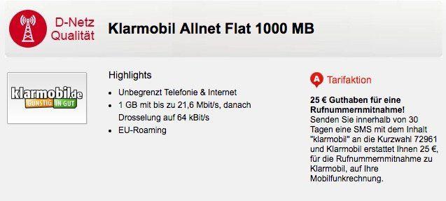 klarmobil Allnet Flat im Vodafone Netz mit 1GB für 7,85€mtl.