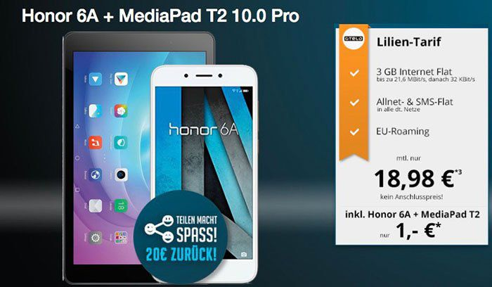Honor 6A Smartphone + MediaPad T2 10 Pro für 1€ + otelo Flat mit 3GB für 18,98€ mtl. + 20€ Cashback