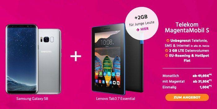 Samsung Galaxy S8 + Lenovo Tab 3 A7 für 1€ + Telekom MagentaMobil S mit 2GB LTE für 43,45€ mtl.