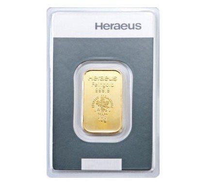 10 Gramm Goldbarren Heraeus Gold 999,9 Feingold für 322,15€ (aktueller Wert 357€)