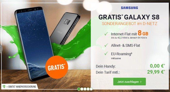 Samsung Galaxy S8 gratis + otelo Allnet Flat XL mit 8GB für 29,99€ mtl. + bis zu 350€ Altgerät Prämie