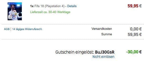 Abgelaufen! 30€ Rakuten Gutschein mit nur 50€ MBW   z.B. Fifa 18 nur 29,95€ (statt 60€)