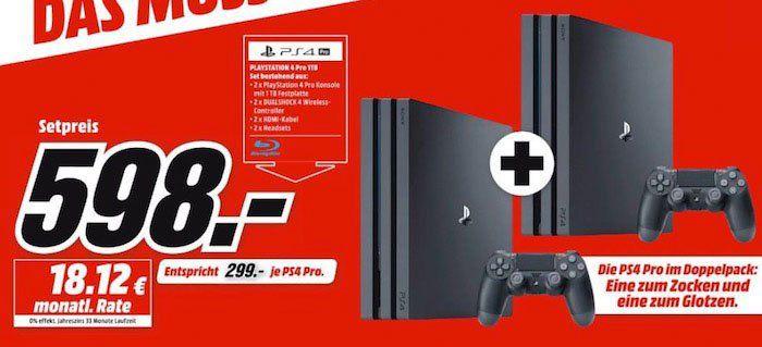 Doppelpack Playstation 4 Pro Konsolen ab 598€ (statt 698€)   nur 299€pro Konsole!