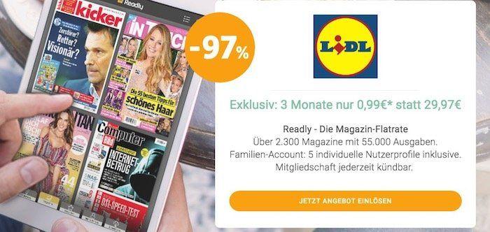 Wieder da! 3 Monate Readly Magazin Flatrate für nur 0,99€ (statt 29,97€)