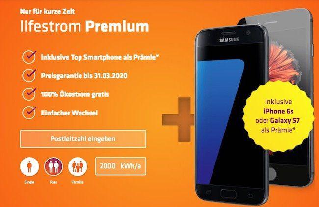 lifestrom Premium Stromtarif abschließen und iPhone 6s oder Samsung Galaxy S7 als Prämie erhalten (Wert: 400€)