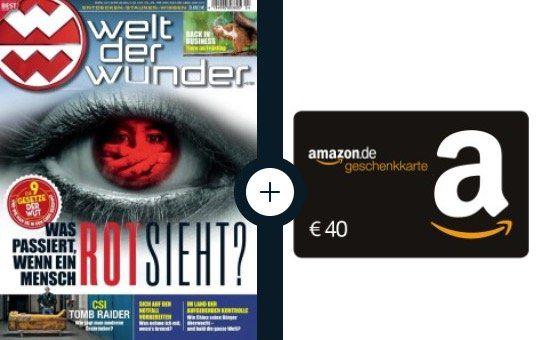 Jahresabo Welt der Wunder für 45,60€ inkl. 40€ Amazon Gutschein