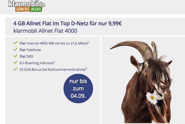 Bis Mitternacht: klarmobil Allnet Flat im Vodafone Netz mit 4GB für 9,99€mtl.