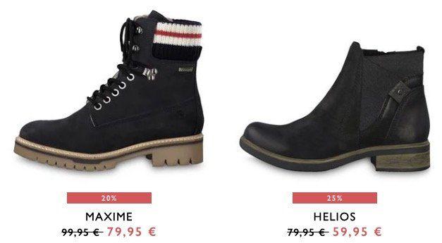 Sale bei Tamaris + weitere 15% Extra Rabatt + VSK nur 0,95€   z.B. Stiefelette Siena Soft für 68,91€ (statt 77€)