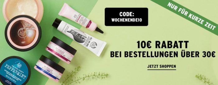 Nur Heute: The Body Shop mit 10€ Sofort Rabatt ab 30€ Mindestbestellwert   VSK frei ab 40€