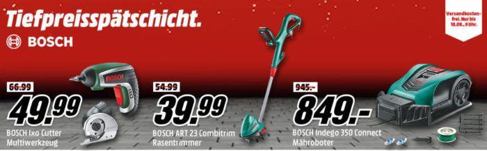 Media Markt Bosch Tiefpreisspätschicht   z. B. BOSCH ARM 3200 Rasenmäher für 72, € Rasentrimmer für 29,99€