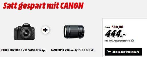 Canon EOS 1300D Spiegelreflex + 18 55mm DFIN Objektiv + TAMRON 18 200mm Di II VC Telezoom statt 527€ für eff. 419€