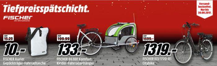 Media Markt Fischer Tiefpreisspätschicht   günstige Fahrräder und Zubehör z.B. Gepäckträgertasche für 10€