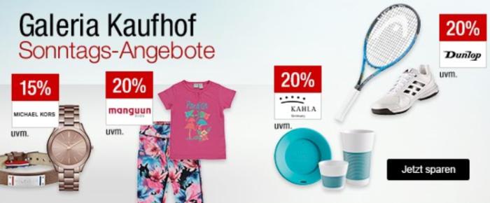 Galeria Kaufhof Sonntagsangebote   z.B. 20% Schmuck, Uhren, Radsport , Golf   15% auf Cocktails uvam.