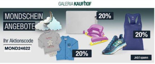 20% Rabatt auf Sportmarken, Messer   Trikots 16/17 ab 29,99€ uvm.   Galeria Kaufhof Mondschein Angebote