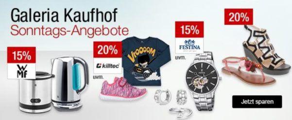 Galeria Kaufhof Sonntagsangebote   z.B. 15% Kleinelektrogeräte der Marke WMF   Le Creuset und Zwilling   20% Rabatt auf edle Tropfen