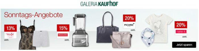 Galeria Kaufhof Sonntagsangebote   z.B. 20% Rabatt auf Villeroy & Boch Gläser & Bestecke, Fitnessartikel   15% Rabatt auf GIN